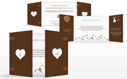 Hochzeitseinladungen für eine Trachtenhochzeit von der Kartenmacherei