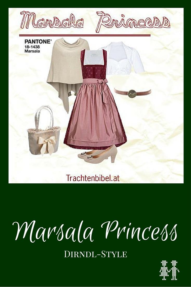 Pantone kürt alljährlich eine Farbe des Jahres. Für 2015 ist das Marsala, das ein erdiges Weinrot ist. Es ist eine echte Statement-Farbe, die auch toll zu anderen Farben als Kontrast passt. Unserer Meinung nach strahlt die Farbe erdverbundene Eleganz aus - also genau passend für einen Dirndl-Look namens Marsala Princess.