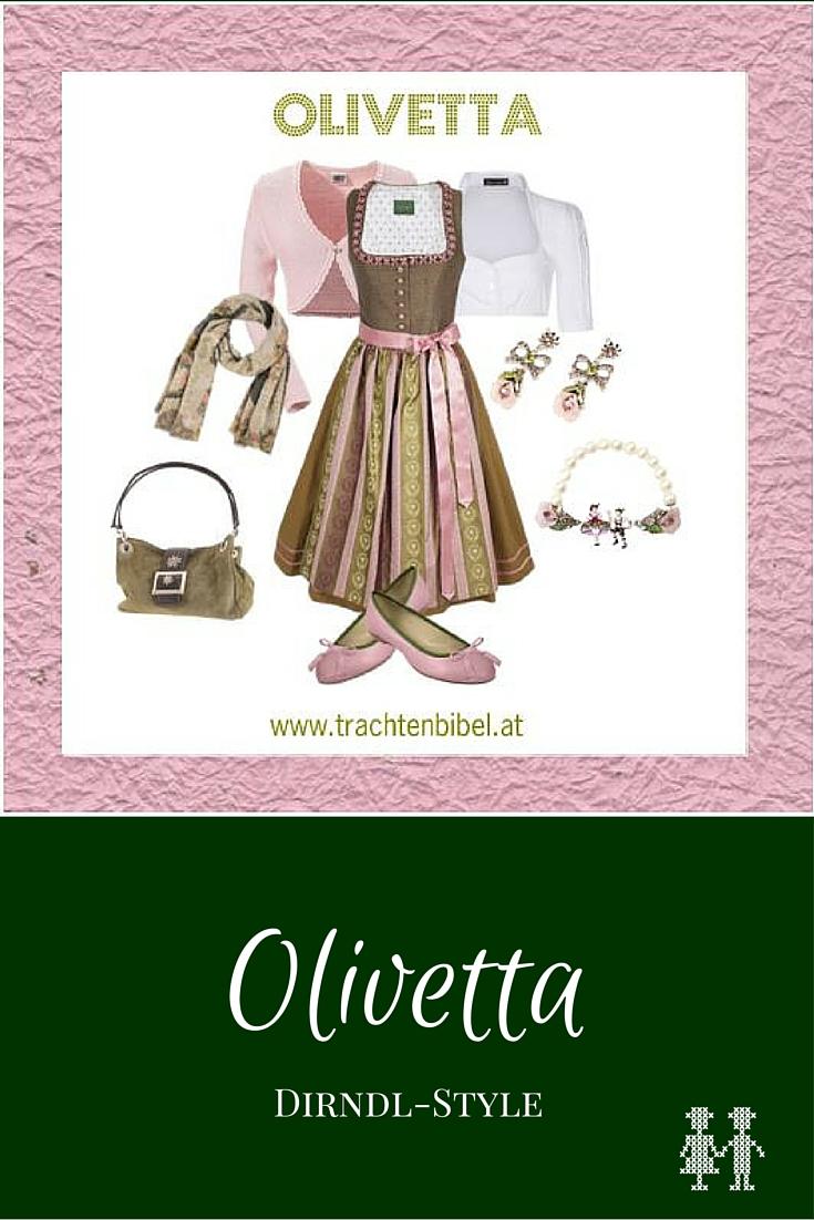 Dirndl-Style Olivetta in Altrosa und Olivgrün zum Nachshoppen
