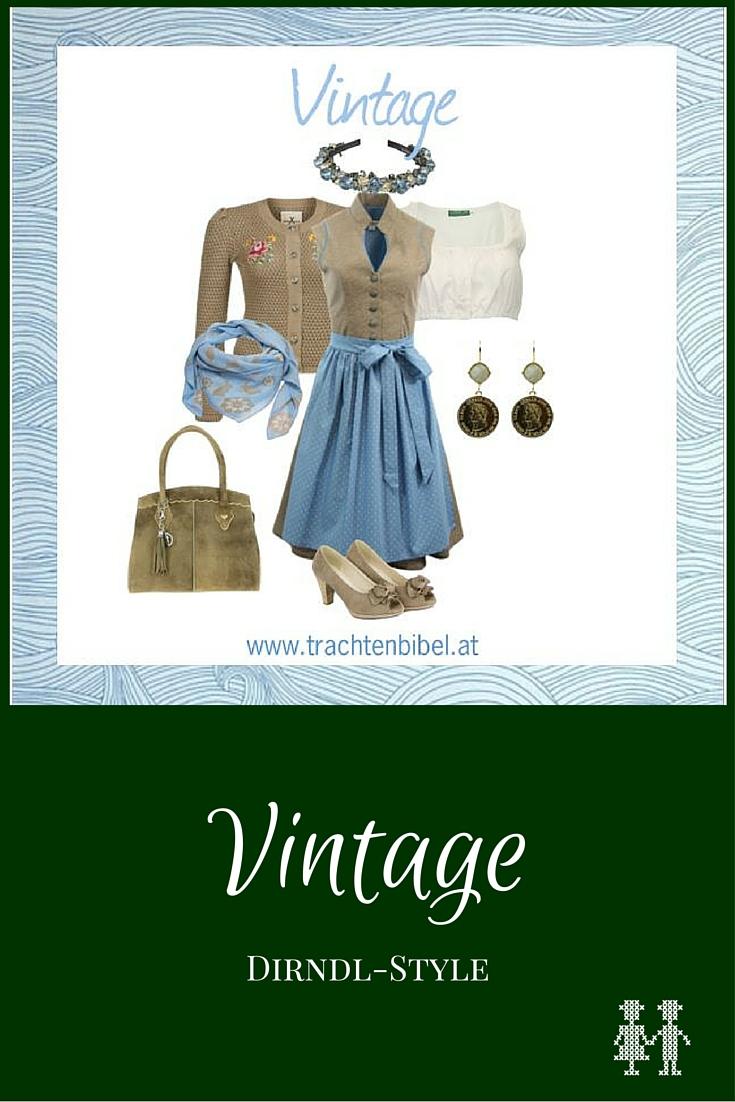 Das Baumwolldirndl in Taupe und Blau wird mit passenden Accessoires zu einem wunderbaren Vintage-Look.