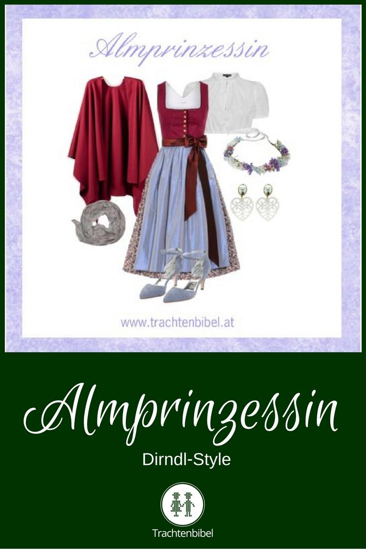 Ein eleganter Look in Rot und Hellblau: Dirndl-Style Almprinzessin
