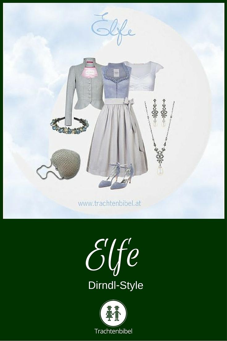 Ein Traum in Vintage-Blau und Silbergrau! Elfe Dirndl-Style zum Nachshoppen