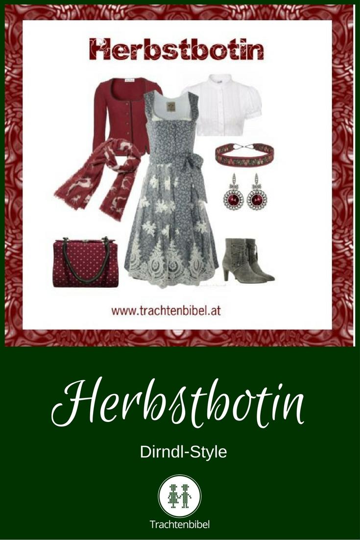 Elegant in Grau und Weinrot ist der Dirndl-Style Herbstbotin. Für alle Details zum Nachshoppen hier klicken!
