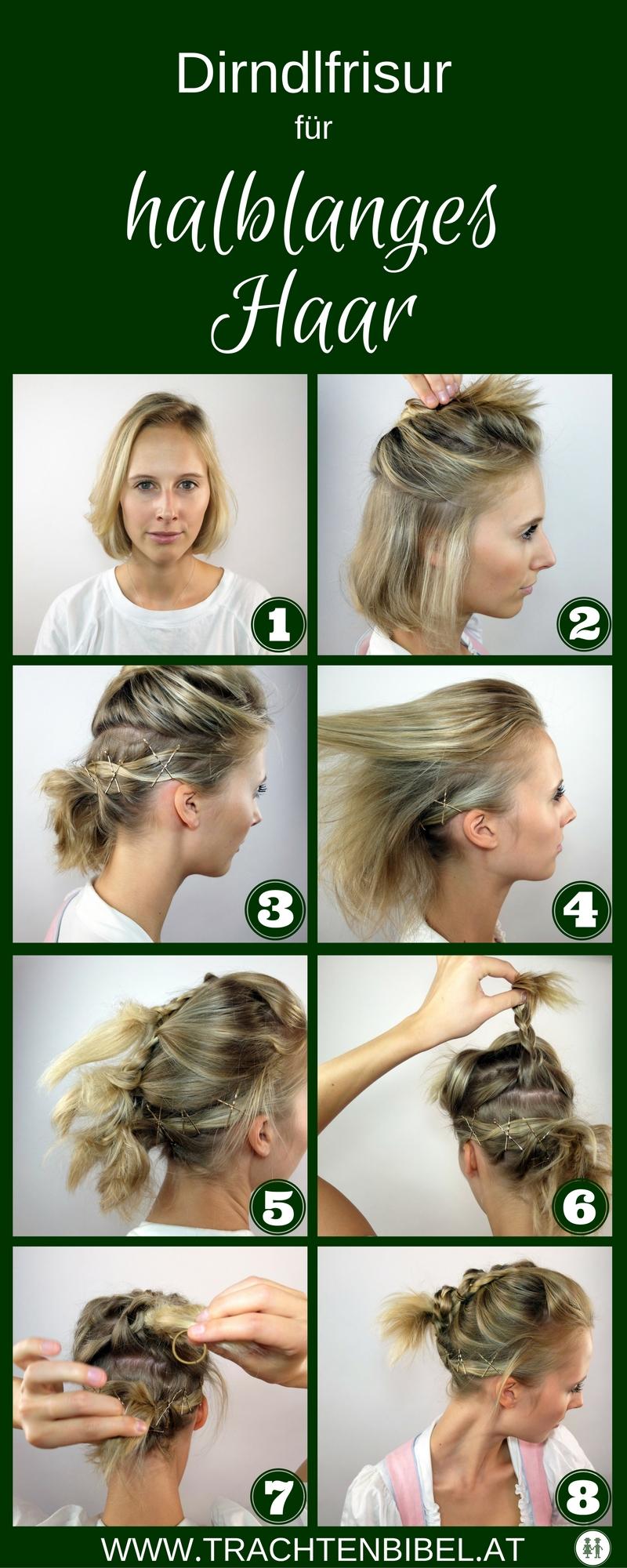 Schritt für Schritt Anleitung: Dirndlfrisur für halblanges Haar