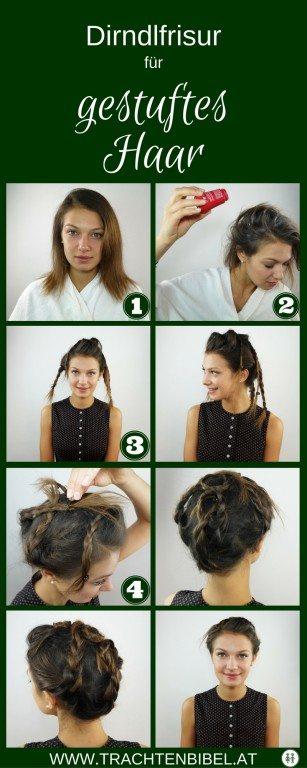 Dirndlfrisur für feines und gestuftes Haar zum Nachmachen