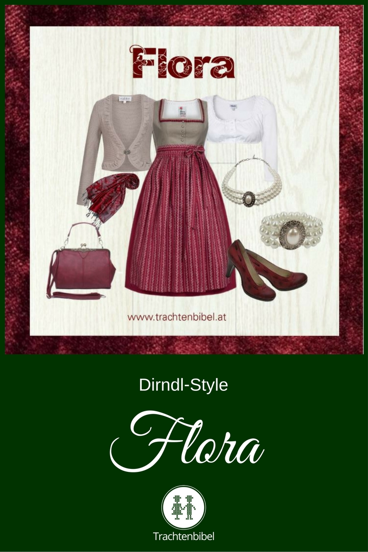 Der Style Flora glänzt in Bordeaux und Taupe und ist ein klassischer Dirndl-Look.