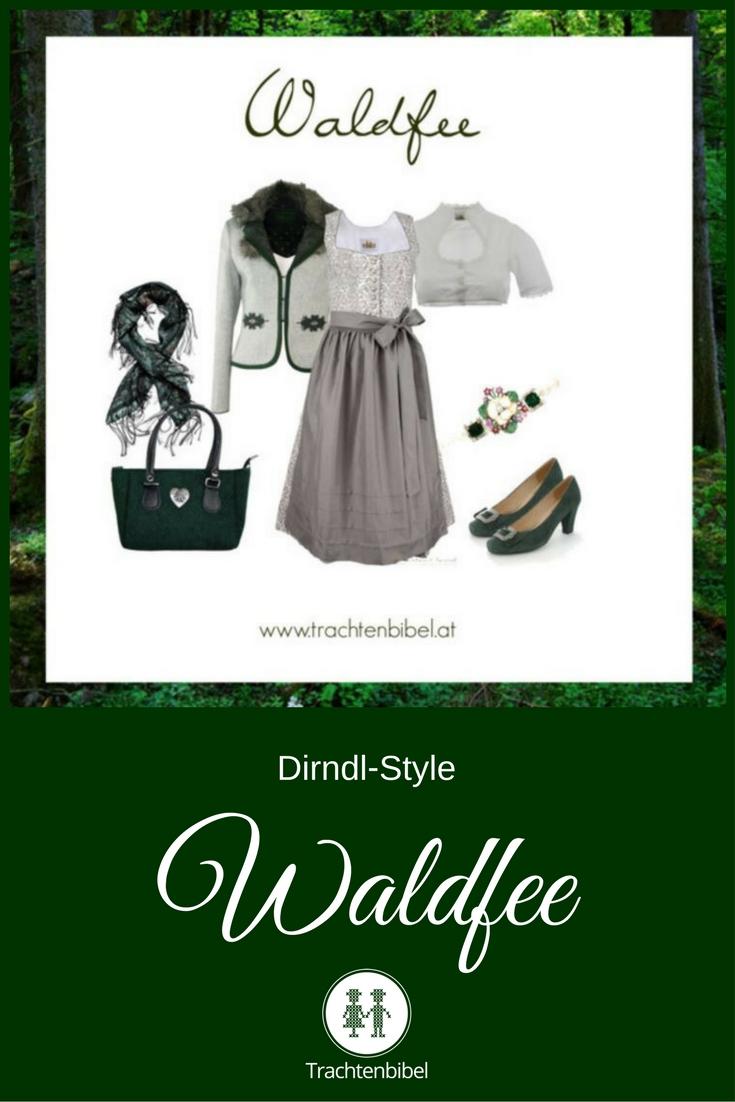 Ein toller Dirndl-Style in Grau und Dunkelgrün für eine Waldfee!