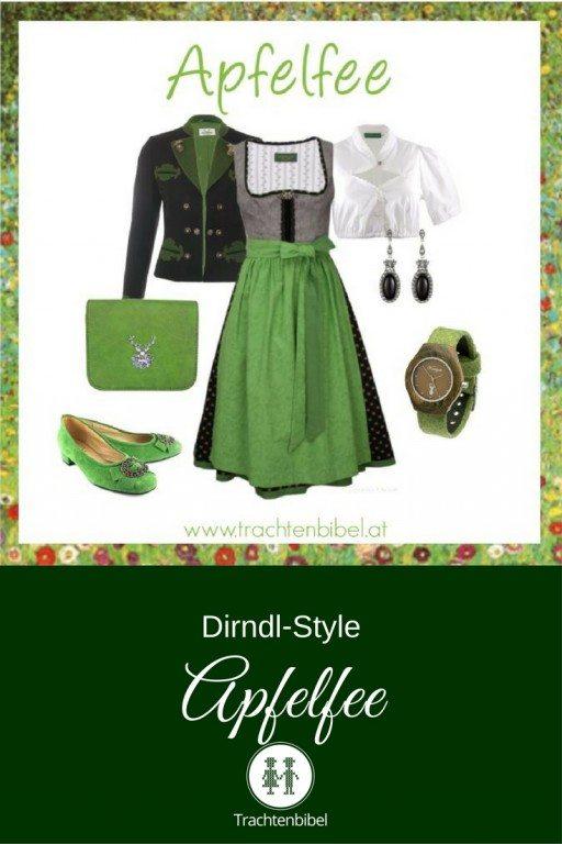 Ein tolles Dirndl Outfit mit traditionellen Elementen und frischem Grün.
