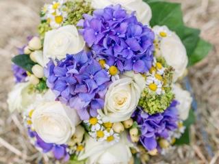 Brautstrauß in Lila und Weiß mit Margeriten, Hortensien und Rosen