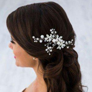 Brautschmuck - Haarkamm mit Glitzersteinchen und Perlen für die Trachtenhochzeit