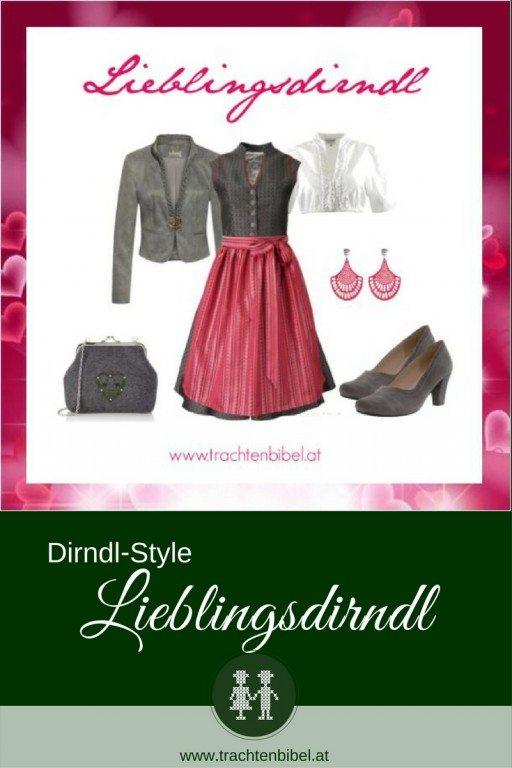 Ein tolles Dirndl Outfit in Anthrazit und Pink zum Nachshoppen. Stylish und elegant!