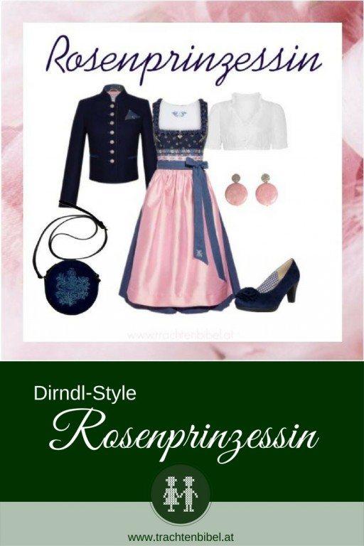 Dunkelblau und Rosa - eine schöne Kombi für einen eleganten Dirndl-Style.