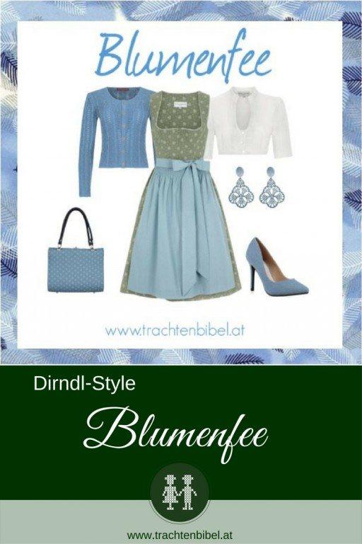 Ein tolles Dirndl in Oliv und Hellblau mit wunderschönen Trachtenaccessoires wird zu einem tollen Styling.