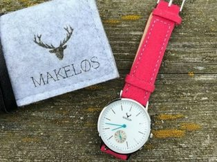 Makelos Uhr Silber Mit Pinkem Filzband