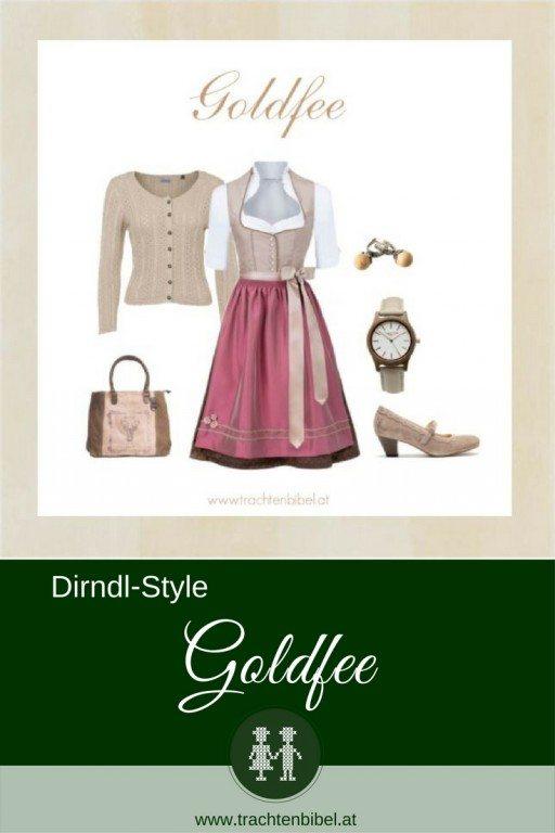 Ein Dirndlstyle in Goldbeige und Brombeer: auch mit wenig Budget kann man im Dirndl top gestyled sein!