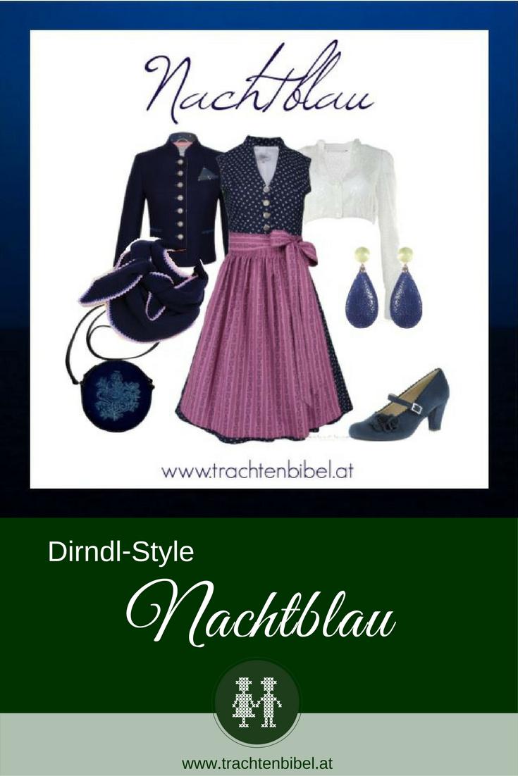 n hochgeschlossenes Vintage-Dirndl in Nachtblau von Goldstich wird mit passenden Accessoires zum perfekten Look. Jetzt nachshoppen!