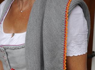 Produktbild DreiTracht Stricktuch Aus Merinowolle Grau Orange