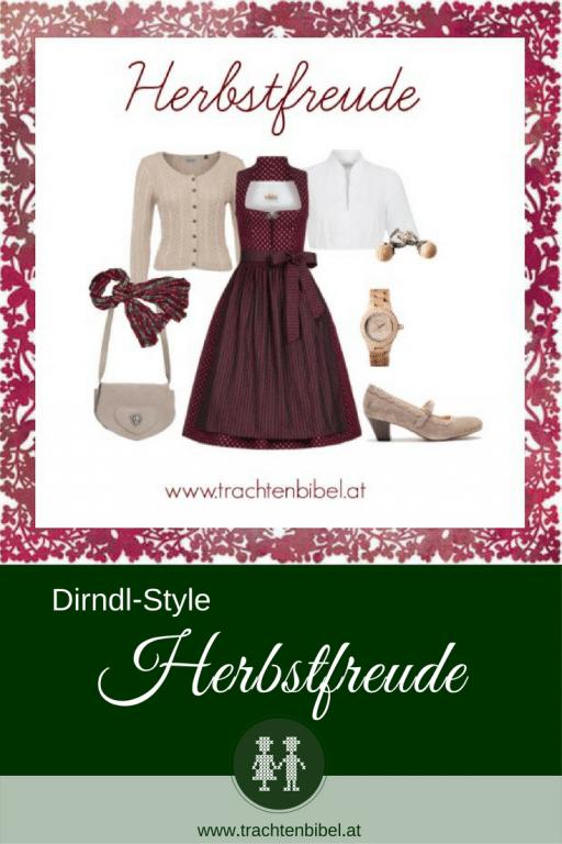 Ein wunderschönes Dirndl Outfit in Bordeaux und Beige zum Nachshoppen.