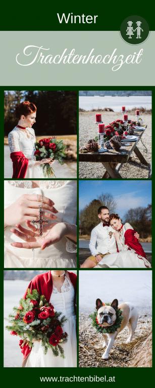 Trachtenhochzeit Im Winter - Bilder einer Hochzeit im Dirndl in Creme, Tannengrün und Rot. Ideen für Accessoires, Gastgeschenke und Tischdeko.