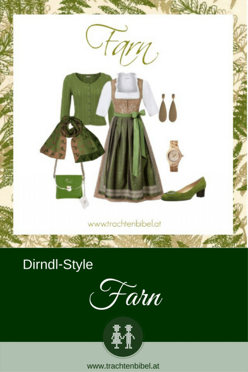 Eleganz in Naturfarben bietet der Dirndl-Style Farn! Beige und Grün am Dirndl mit passenden Accessoires sind hier zu einer tollen Zusammenstellung vereint.