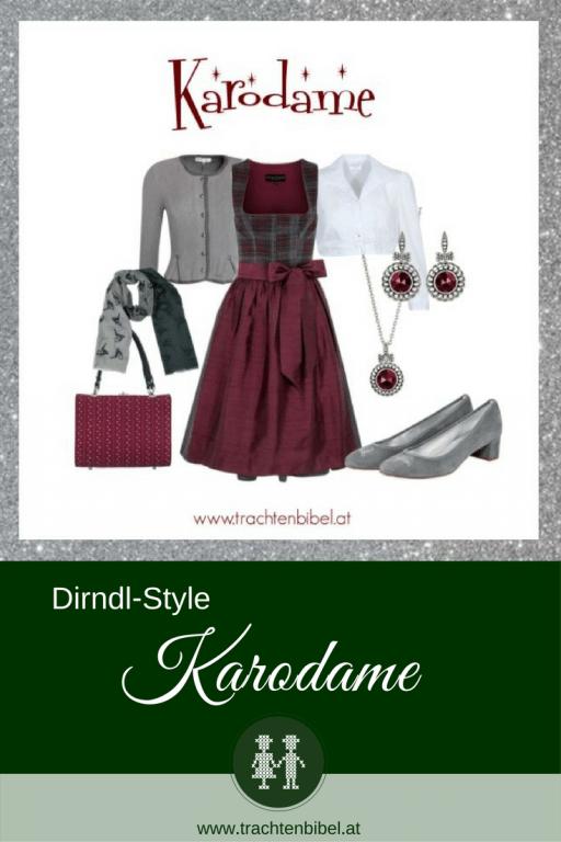 Ein tolles Outfit in Weinrot und Grau! Besonders in ist das Karo am Dirndl - mit den passenden Accessoires wird es zum perfekten Outfit. @trachtenbibel folgen und #Dirndltipps erhalten!