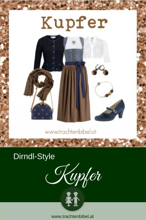 Ein Dirndl-Style in Kupfer und Dunkelblau - zurückhaltende Eleganz. Dirndl und Accessoires gibt es hier zum Nachshoppen. @trachtenbibel folgen und Trends entdecken! #stylingtipp