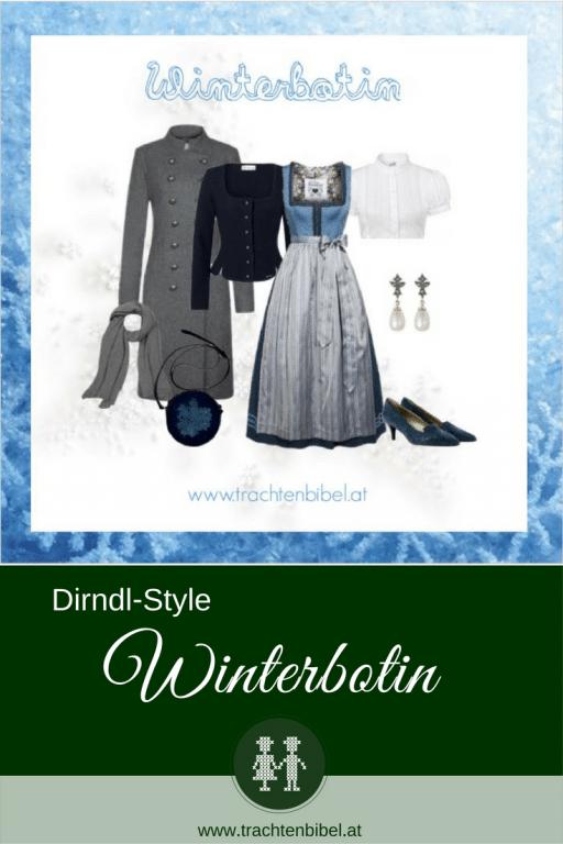 Die Winterbotin ist eine wunderschöne Dirndl-Zusammenstellung in kühlen Blautönen mit passenden Accessoires. Winterfit im Dirndl! #stylingtipp #dirndlstyle