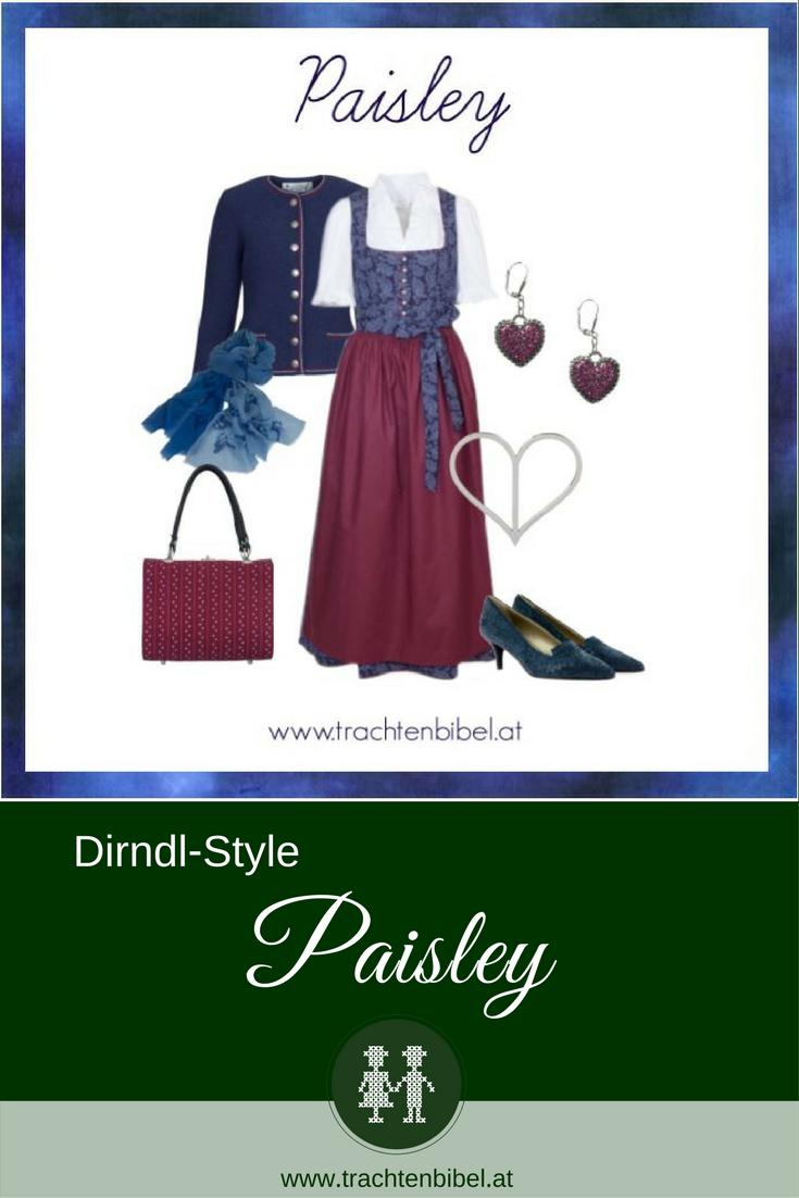 Ein tolles Dirndl in Marineblau mit einem Halbdruck im Paisley Muster ist mit den passenden Accessoires in Weinrot und Blau ein tolles Outfit für viele Gelegenheiten. #dirndlstyle #dirndlstyling