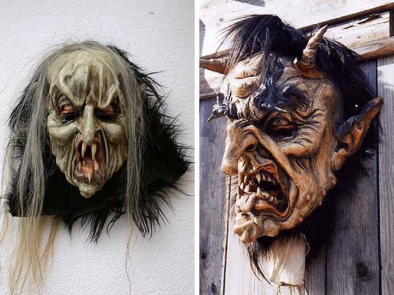 Holzmasken für Perchten vom Herrgottschnitzer