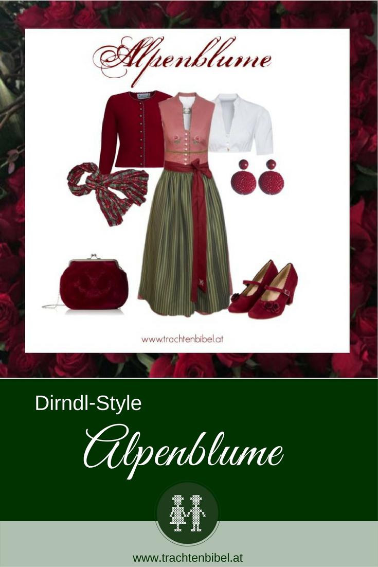 Ein wunderschöner Dirndlstyle mit einem Dirndl von Sportalm in Altrosa, Weinrot und Grün mit passenden Accessoires. #dirndlstyle