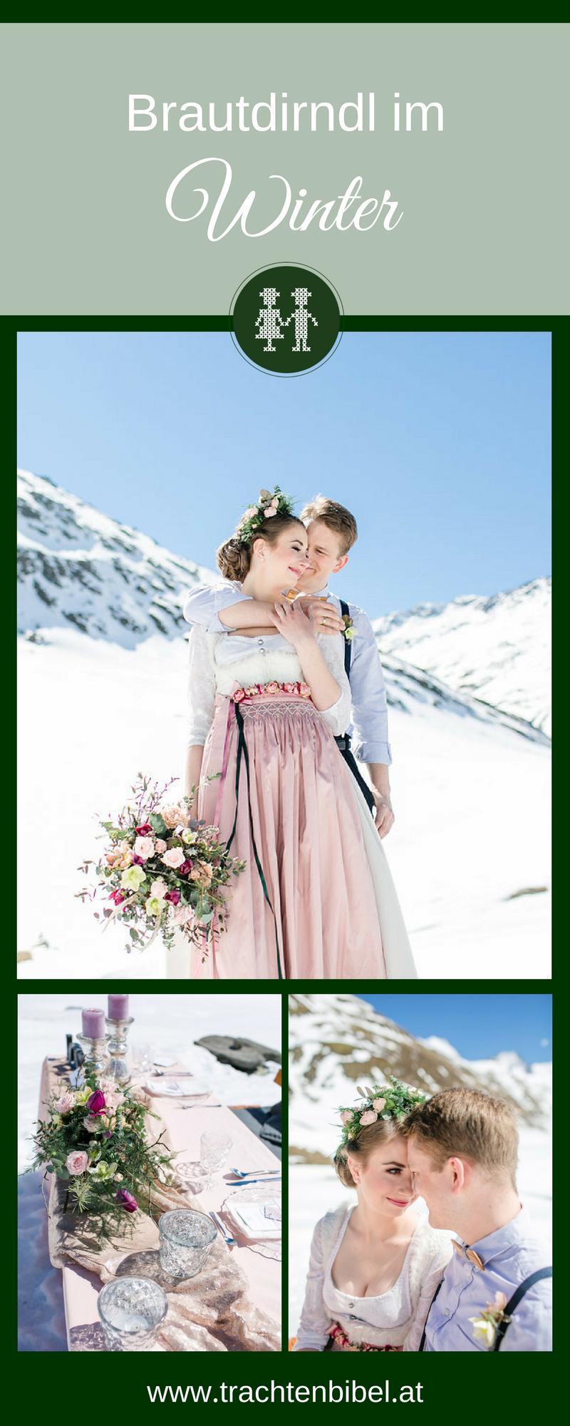 Ein Styled Shooting von einem Brautdirndl im Winter auf den Bergen. Tolle Bilder einer Trachtenhochzeit auf der Schönwieshütte. #trachtenhochzeit #hochzeit #wedding