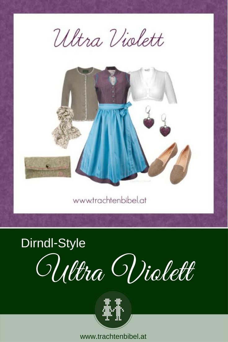 Ein toller #Dirndlstyle in der Trendfarbe des Jahres Ultra Violett mit passenden Accessoires. Hier nachshoppen #trachtenstyling
