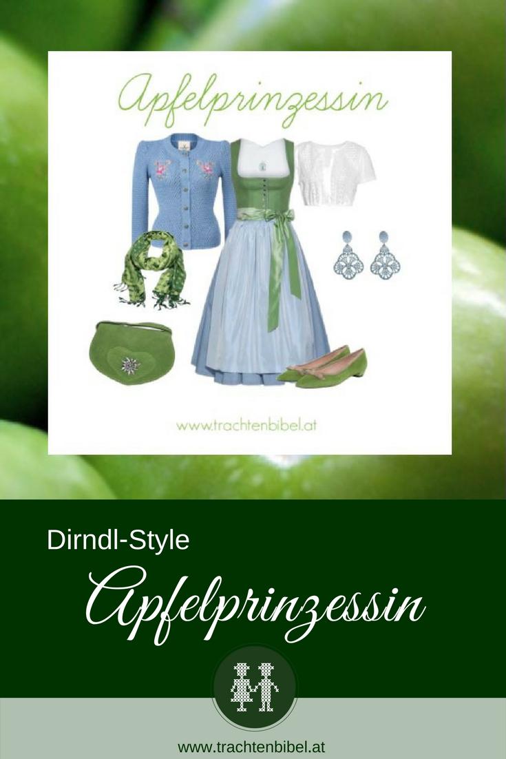 Frühlingsfrisch in Hellgrün und Hellblau ist unser Dirndl-Style Apfelprinzessin. Das Dirndl von Tostmann wird mit passenden Accessoires zum echten Hingucker. #dirndlstyle #dirndltipp