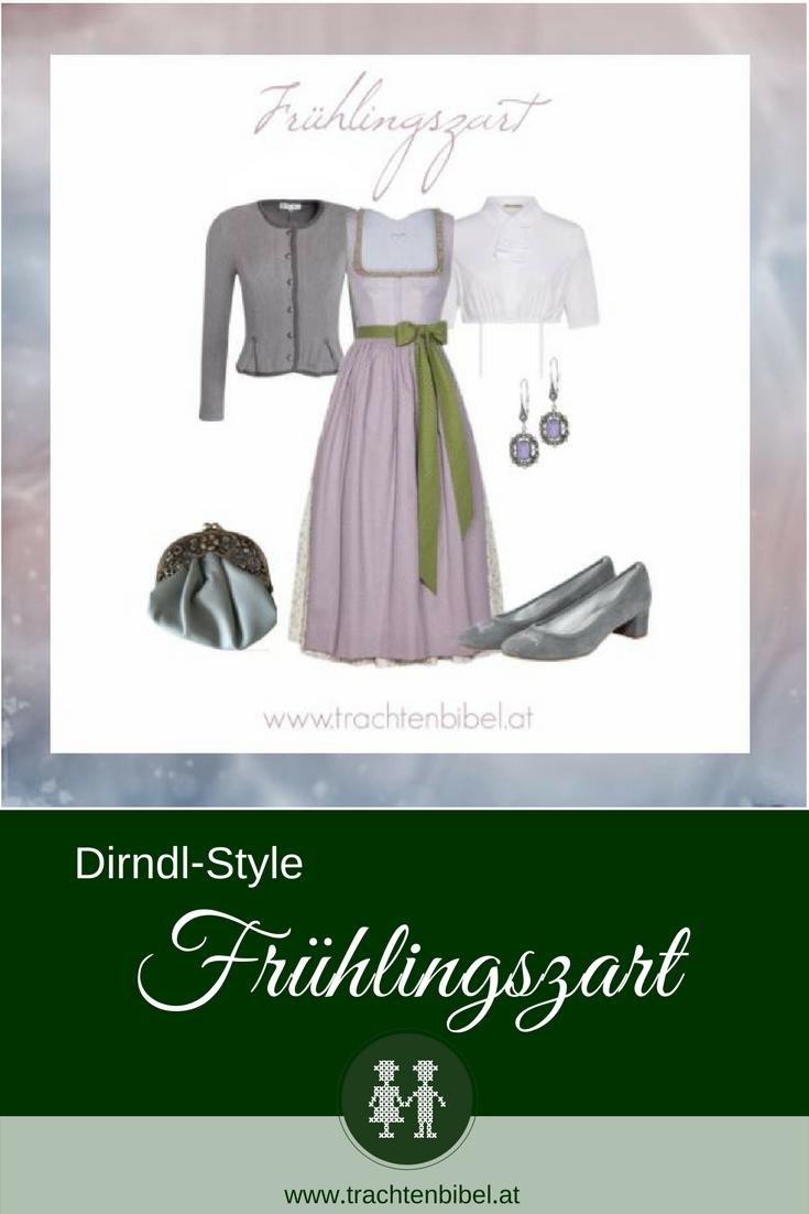 """Zarte Farben dominieren den Dirndl-Style """"Frühlingszart"""". In Mauve mit grünen Akzenten ist das lange Dirndl von Susanne Spatt mit passenden Accessoires ein toller #dirndlstyle #dirndltipp"""