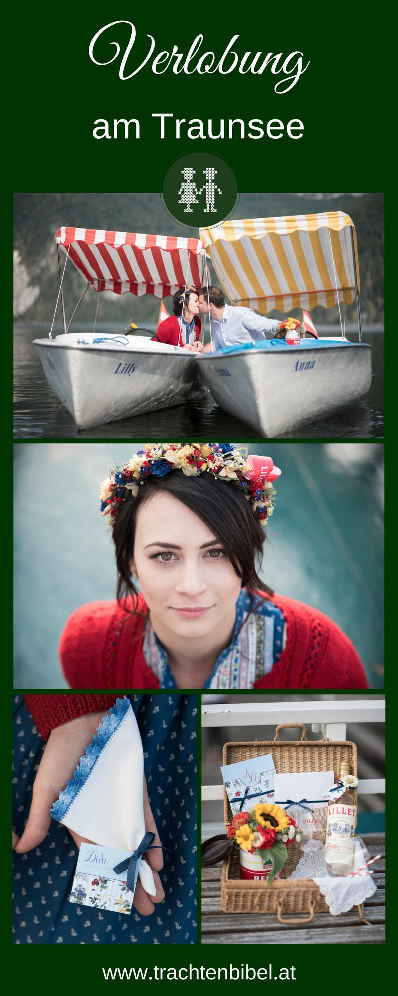 Verlobung am Traunsee Boote, Braut Taschentücher und Picknickkorb