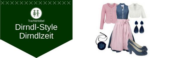 Dirndl in Rosa und Dunkelblau mit passenden Accessoires Dirndlzeit