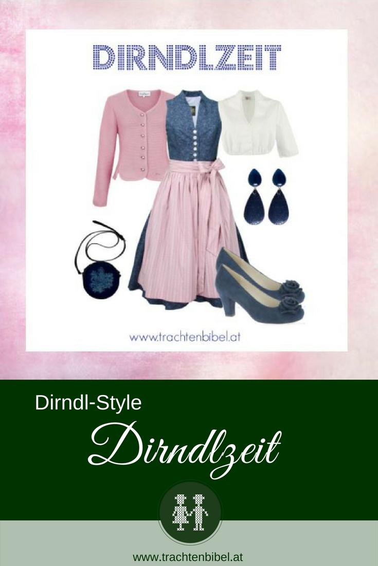 Dirndl Outfit in Dunkelblau und Rosa mit passenden Accessoires
