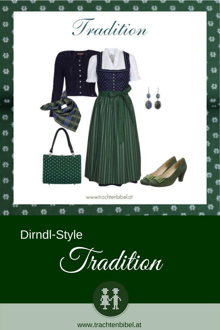 Dirndl Outfit Dirndl blau und grün mit Strickweste und Accessoires