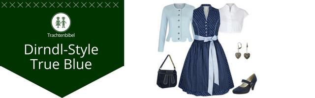 Dirndl Outfit Kombination dunkelblau