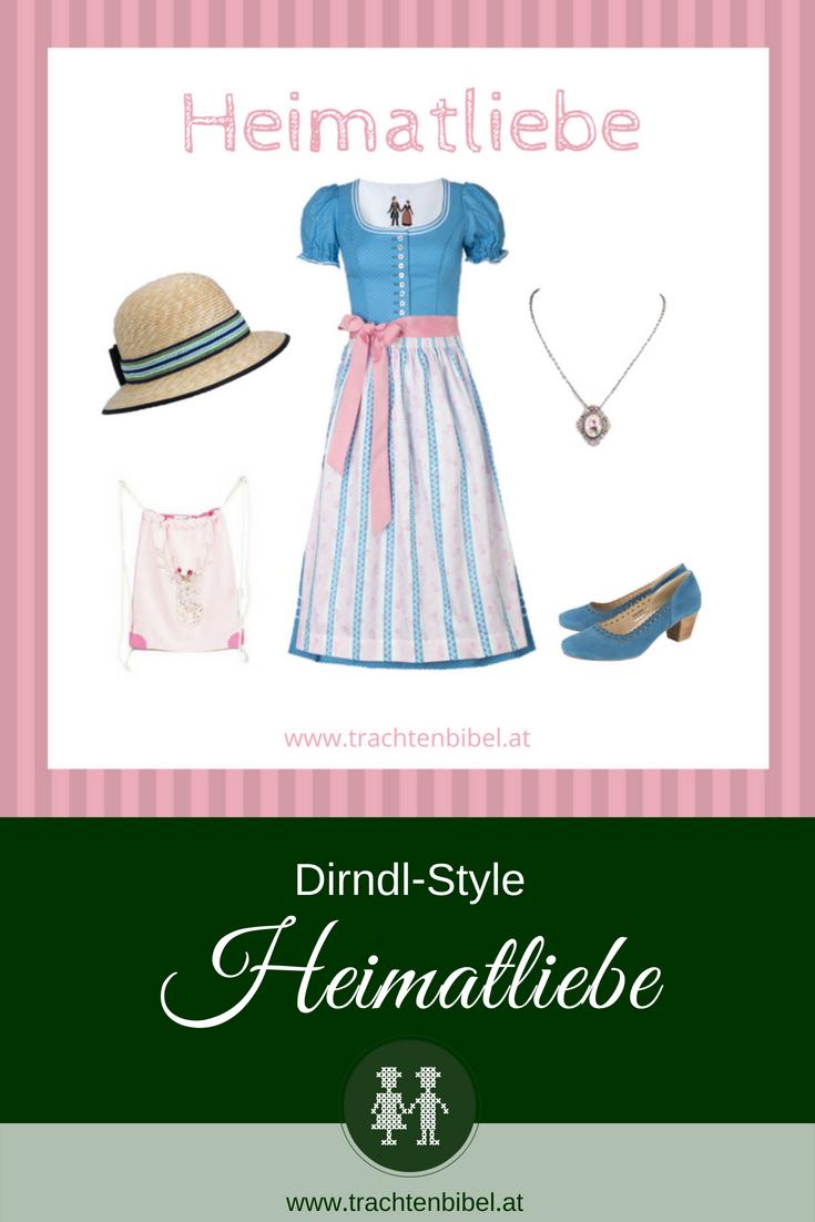 Dirndl blau und rosa mit passenden Accessoires