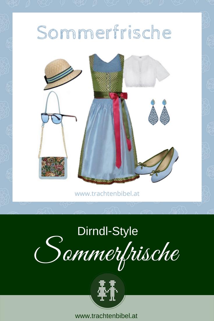 Dirndl in Grün, Hellblau von Amsel