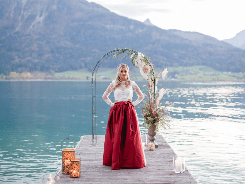 Tracht Trifft Auf Boho Romantik Braut Am Steg