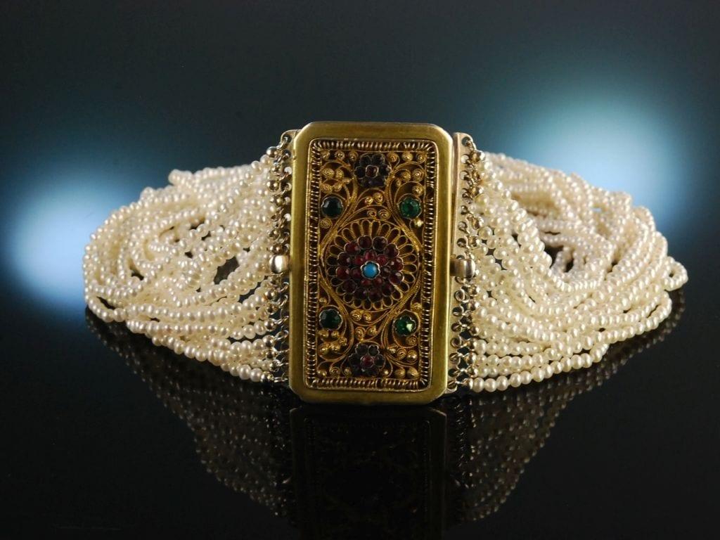 Ein Traum Zum Dirndl Trachten Kropf Kette 16reihig Zuchtperlen Silber Vergoldet