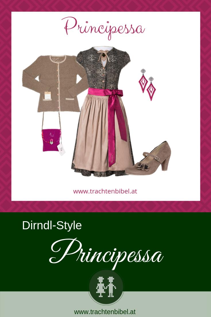 Dirndl in Beige und Pink mit passenden Accessoires - Style Principessa