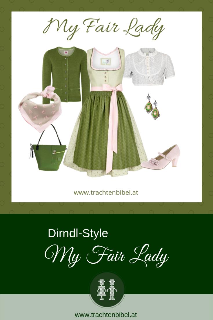 Pin grünes Dirndl von Alpenfee mit rosa Elementen und Accessoires