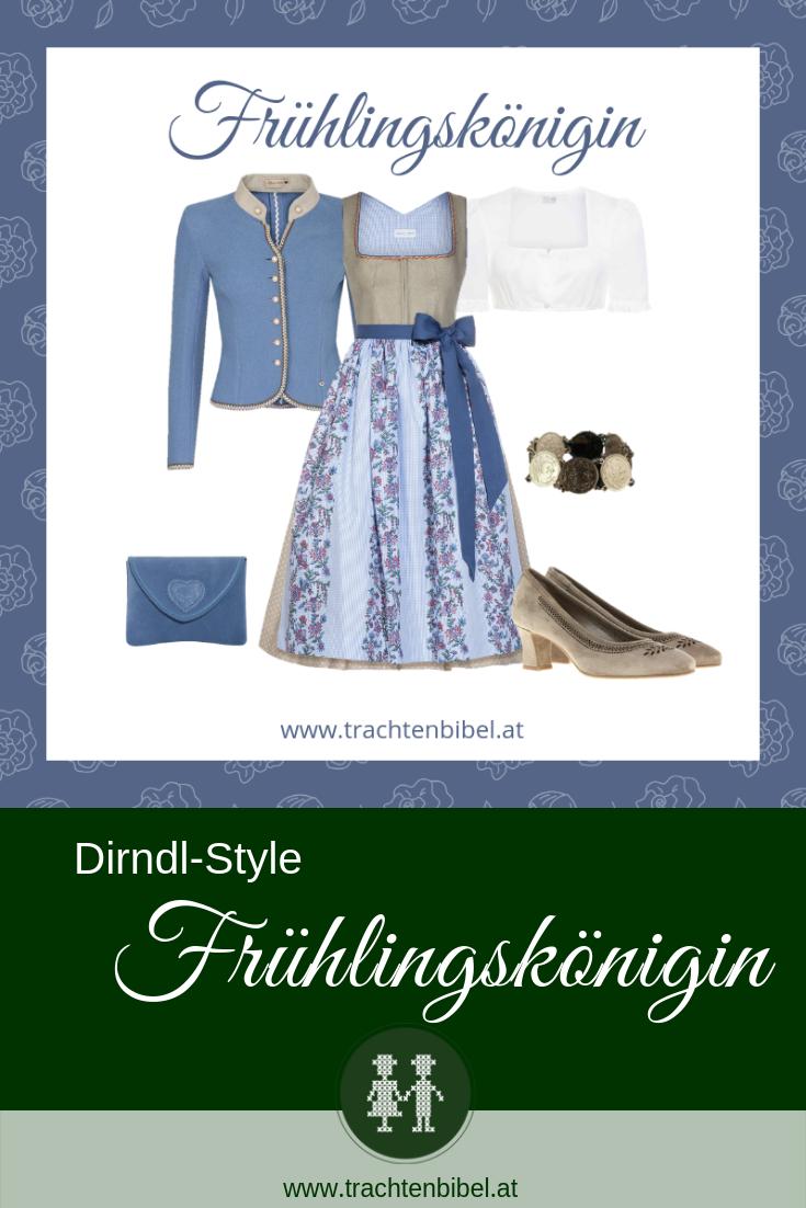 Pin Dirndl beige mit blauen Accessoires
